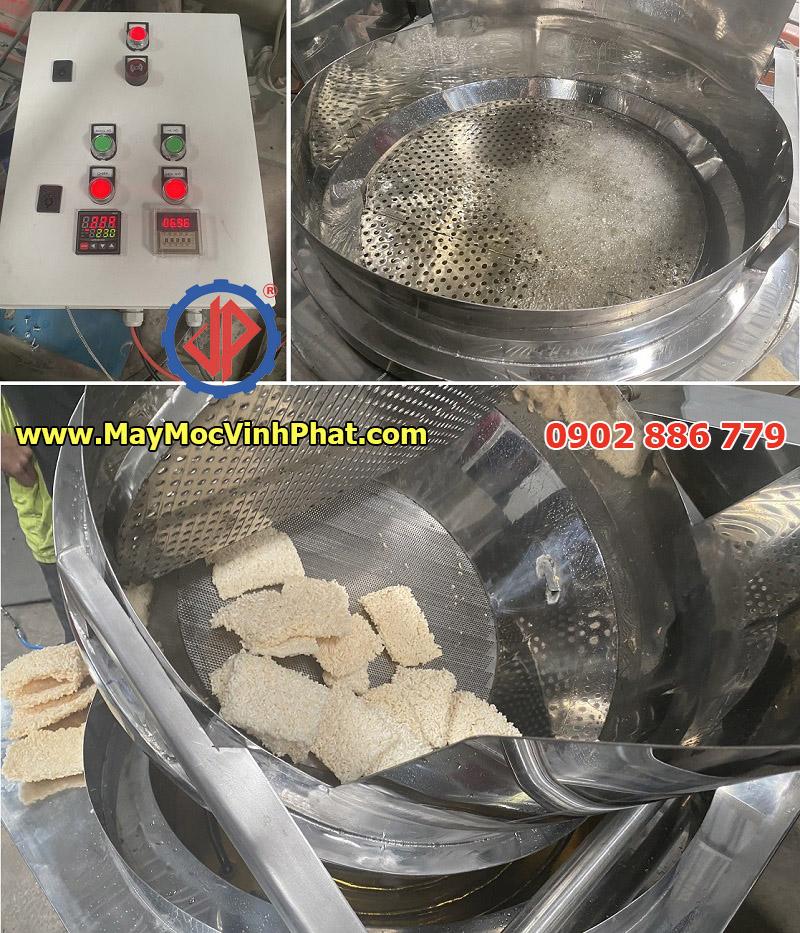 Hiệu quả thực tế khi máy chiên cơm cháy chà bông Vĩnh Phát làm việc