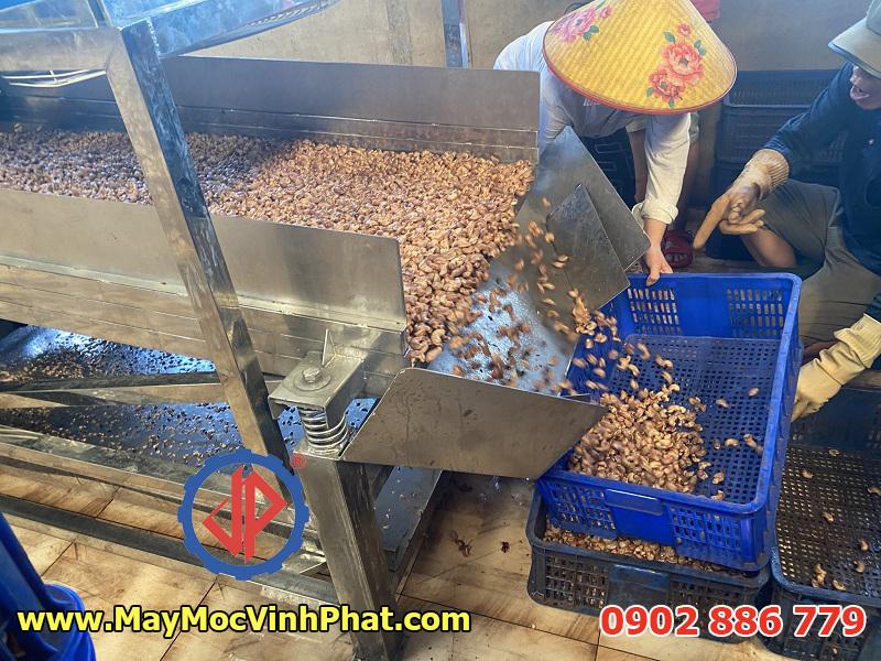 Đầu ra của dây chuyền máy rửa hạt điều Vĩnh Phát lắp đặt tại Bình Phước
