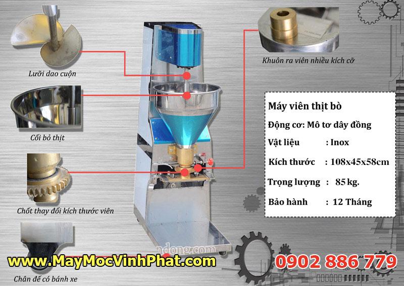 Cấu tạo của máy tạo viên thịt, chả cá, máy làm bò viên Cty Vĩnh Phát nhập khẩu