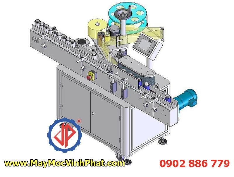 Mô phỏng 3D máy dán nhãn chai tròn Vĩnh Phát, máy dán tem nhãn chai vuông, hộp nhựa... giá rẻ
