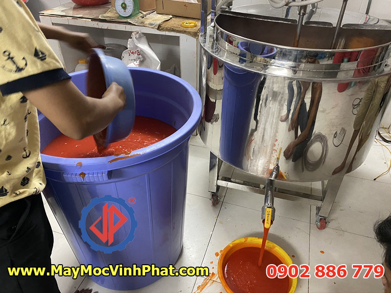 Nồi nấu tương ớt 200 lít Vĩnh Phát cung cấp cho khách hàng giá rẻ nhất