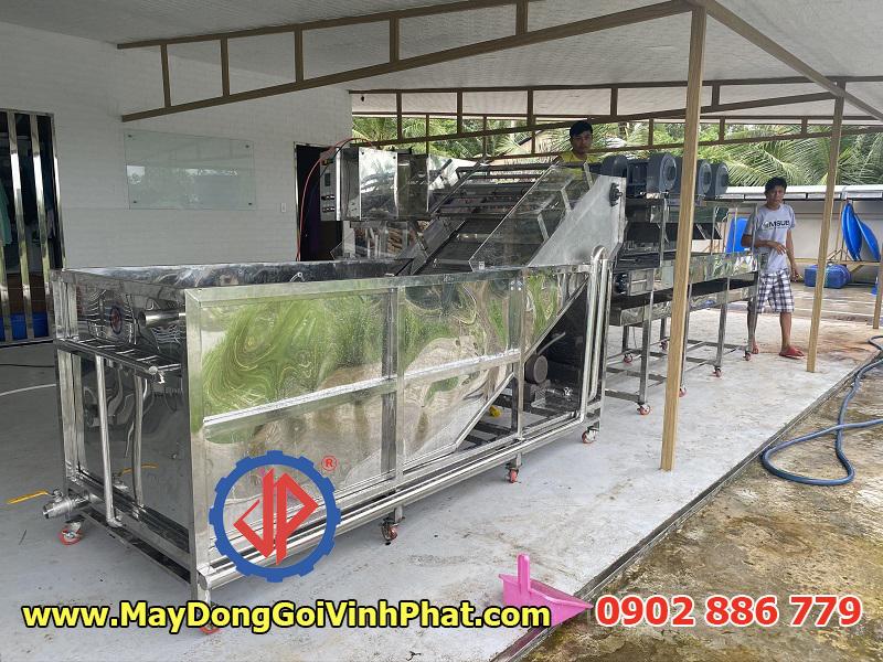 Dây chuyền máy rửa trái nhàu sục khí tích hợp ozone khử khuẩn, kèm theo hệ máy thổi khô quả băng tải có nhiệt