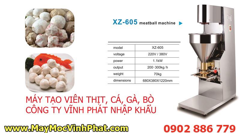 Thông số kỹ thuật máy tạo viên thịt heo, bò, gà, máy làm chả cá viên do Vĩnh Phát cung cấp